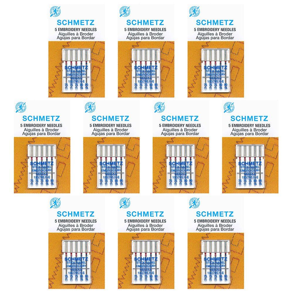 50 Schmetz Embroidery Sewing Machine Needles - Assorted sizes - Box of 10 cards by Schmetz