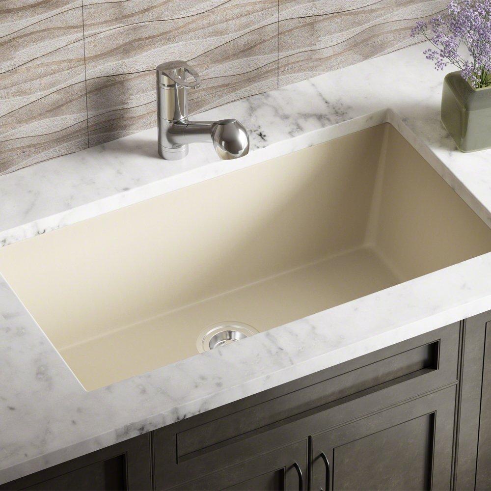 848 Beige Undermount Single Bowl Composite Granite Kitchen Sink ...