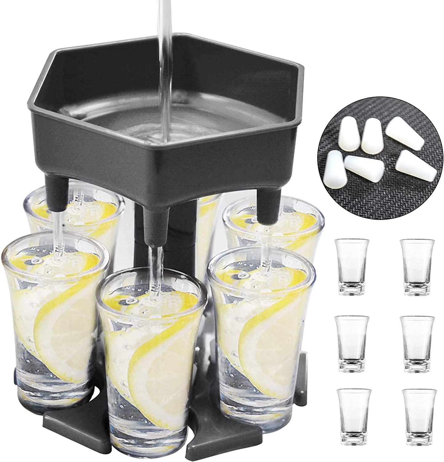 6 Shot Glass Dispenser, Drink Dispenser and Holder with Stoppers, Beverage Dispenser with Glasses for Filling Liquids Cocktail Carrier Liquor Gifts Bar Shot Buddy Dispenser for Parties