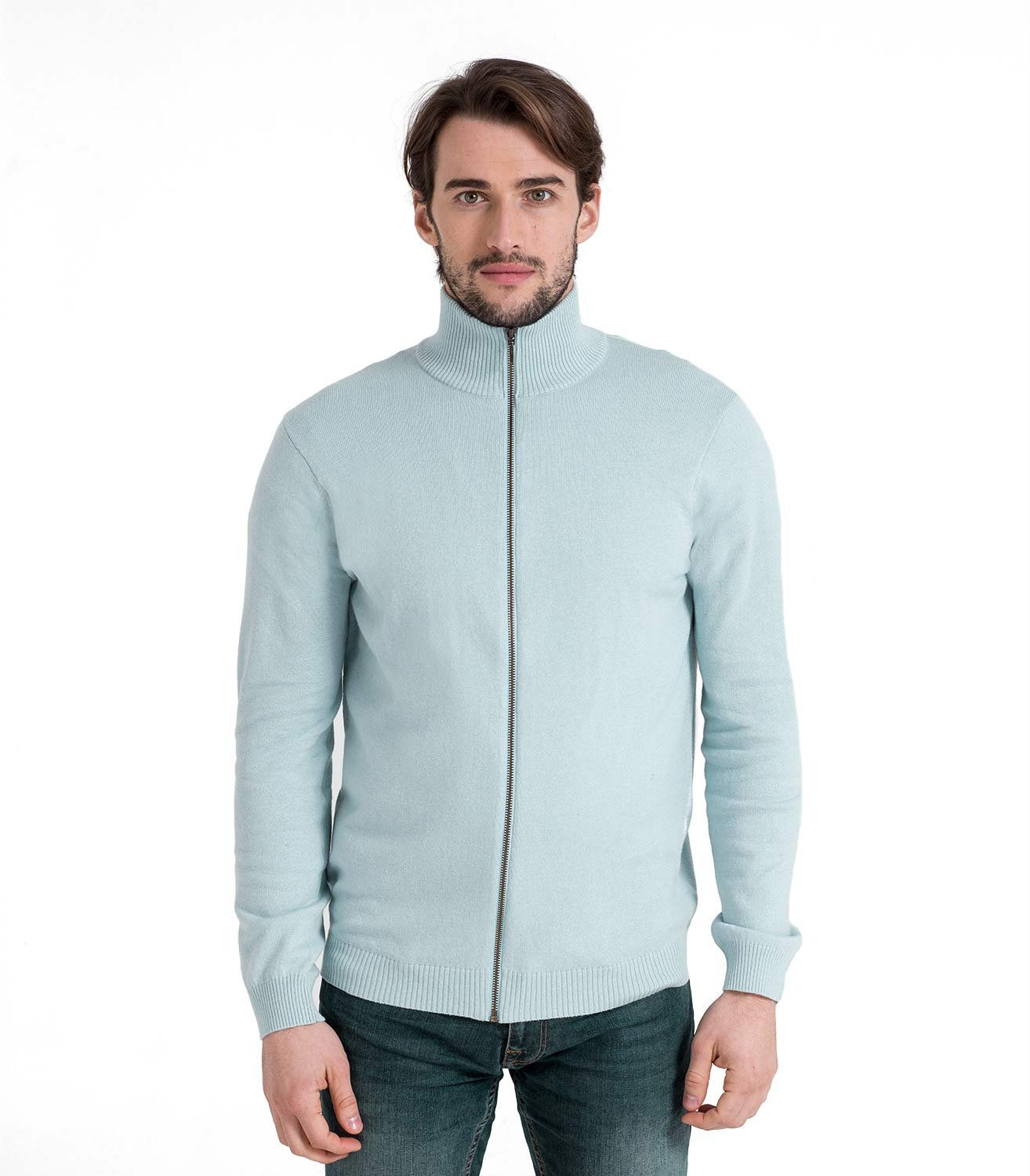 Woolovers Mens Cashmere and Cotton Zip Through Knitted Cardigan