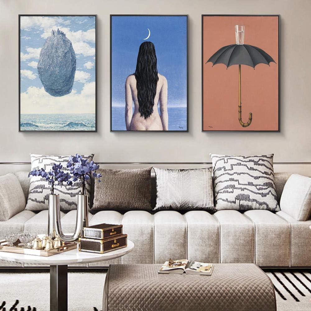 MXK The Evening Gown Pinturas sobre Lienzo de Rene Magritte Carteles e Impresiones de Arte de Pared Famosos Cuadros de Arte de surrealismo para Sala de Estar 40x60cm sin Marco