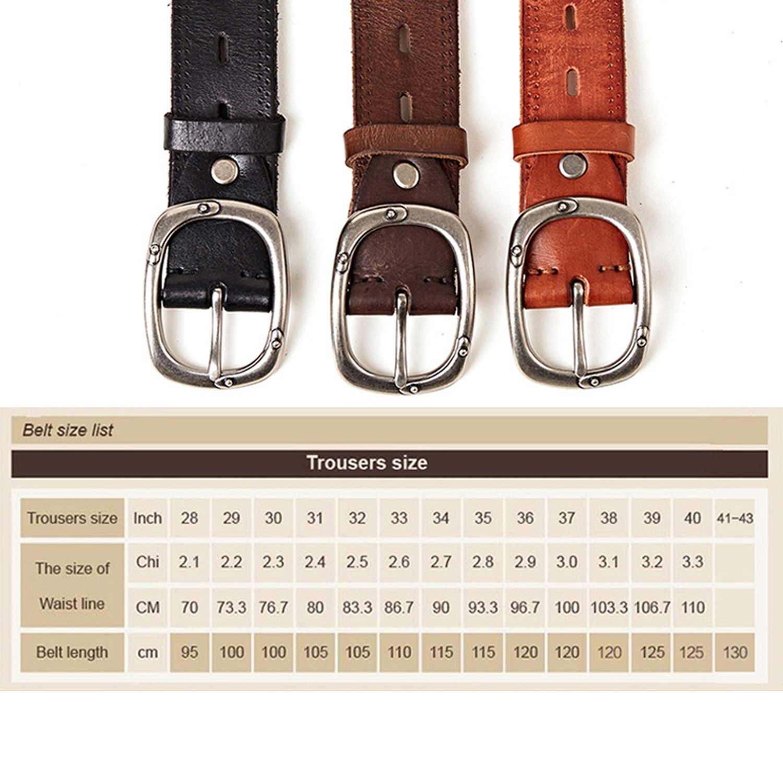 Cowhide Belt Vintage Buckle Designed Upper Genuine Leather Belt Cummerbunds Retro Gifts for Jeans