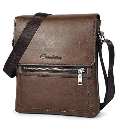 Vbiger Mens Vintage PU Leather Crossbody Shoulder Messenger Bag Business Bag