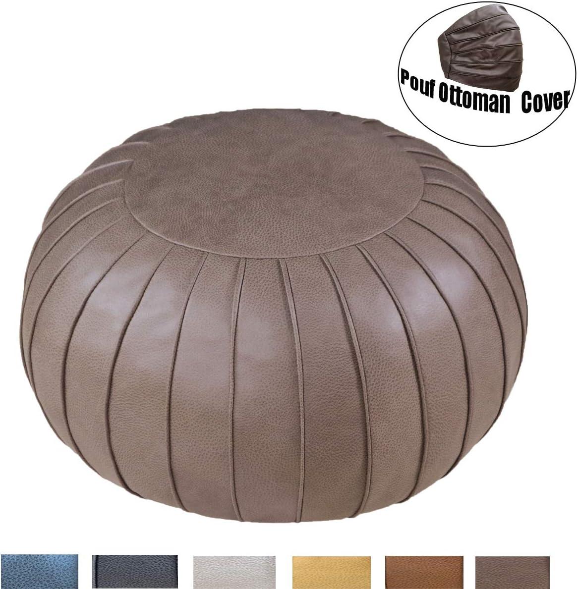 Thgonwid Unstuffed Handmade Suede Pouf Footstool Ottoman Faux Leather Poufs 23