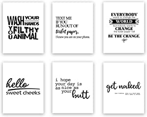 Funny Bathroom Art Prints (Unframed) Wall Art | Great Gift Set of 6 Quotes | Create Your Own Set | 44 Options