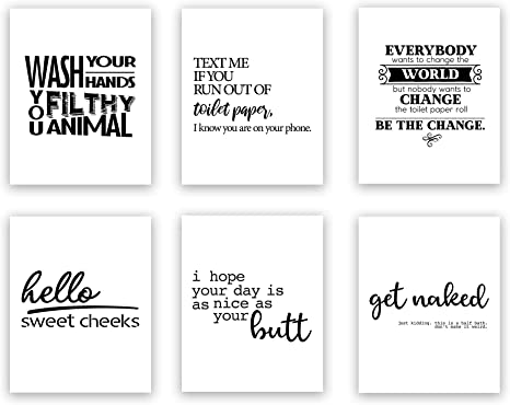 Amazon Com Funny Bathroom Art Prints Unframed Wall Art Great Gift Set Of 6 Quotes Create Your Own Set 44 Options Everything Else