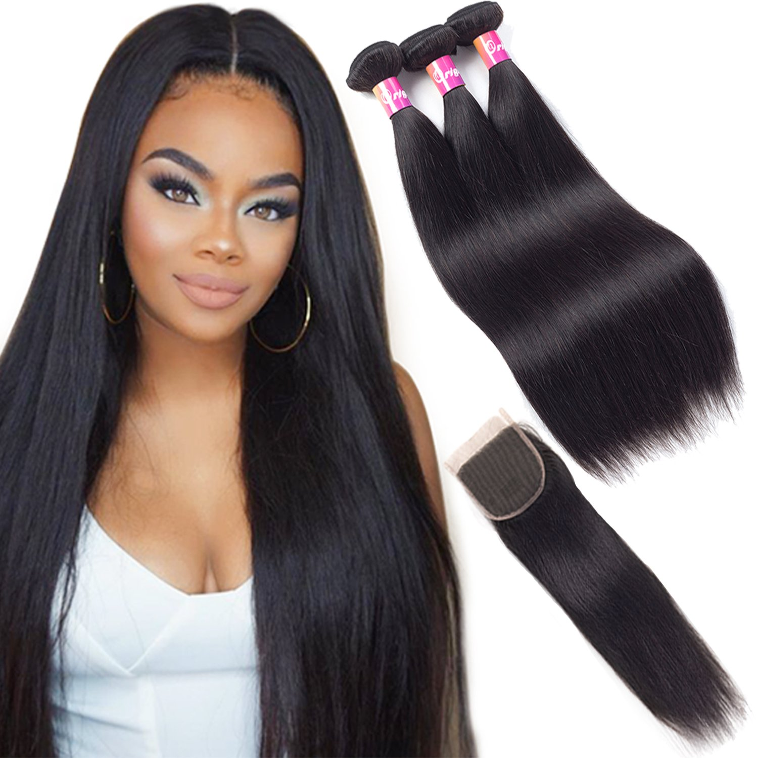 Malaysian hair with closure 10A remy hair with closure straight hair 3 bundles with free part lace closure natural color by Originea (18''20''22''with 16''closure)