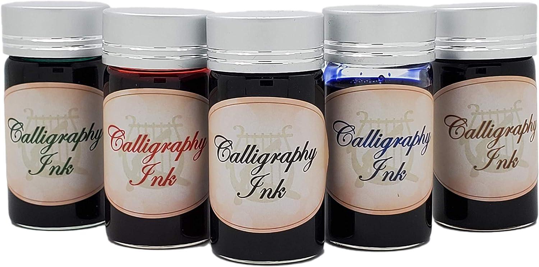 KenTaur European Calligraphy Ink Set - 25 ml (5 Color) - Water Based Non-Toxic Bottle Pen Ink Kit for Fountain Pens, Dips Pens, Ink Refills - Made in Austria