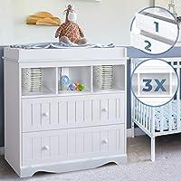 Cambiador – Incluye 2 cajones grandes y 3 compartimentos, 93,5 x 50 x 88 cm, color blanco – cambiador, cambiador…