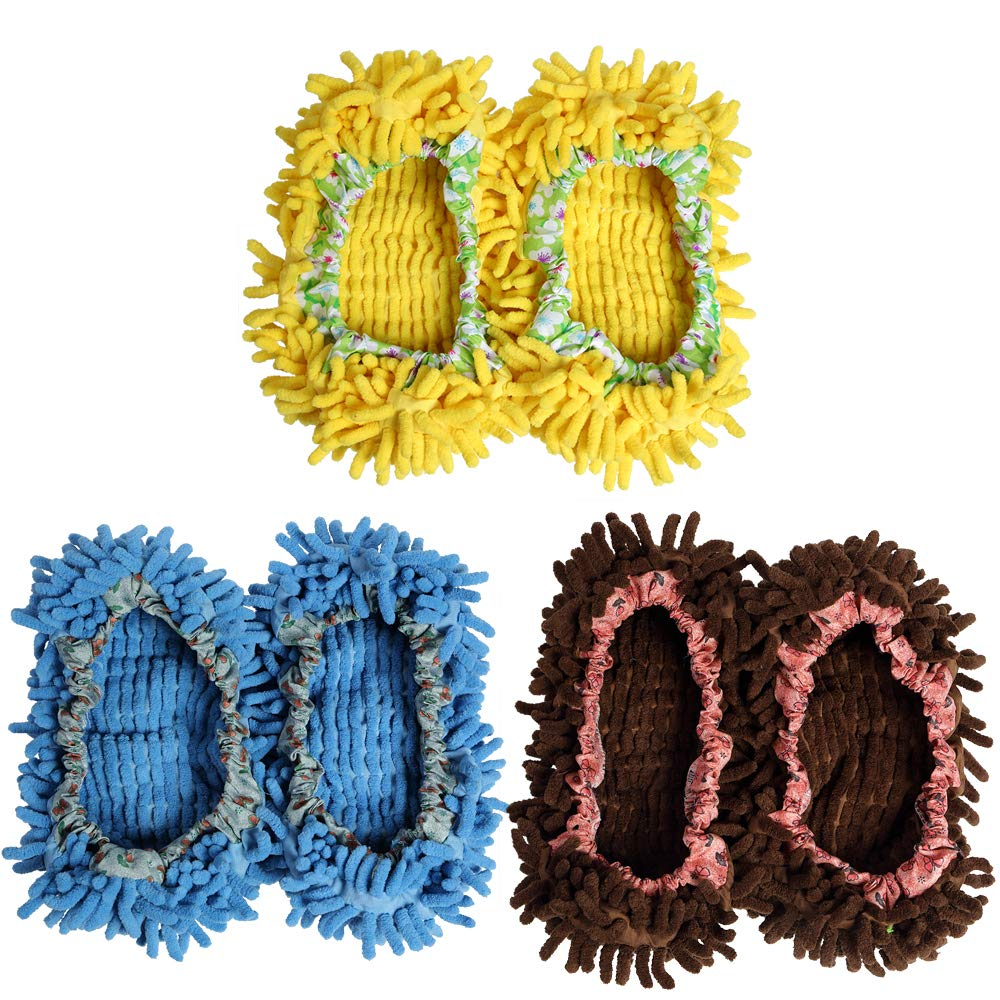 3Pairs Multifunctional Washable Chenille Fibre House Floor Cleaning Dust Mop Slippers Foot Socks Mop Shoes Cover Floor Dust Dirt Hair Cleaner Shoes three colors (Chocalate-Blue-Yellow)