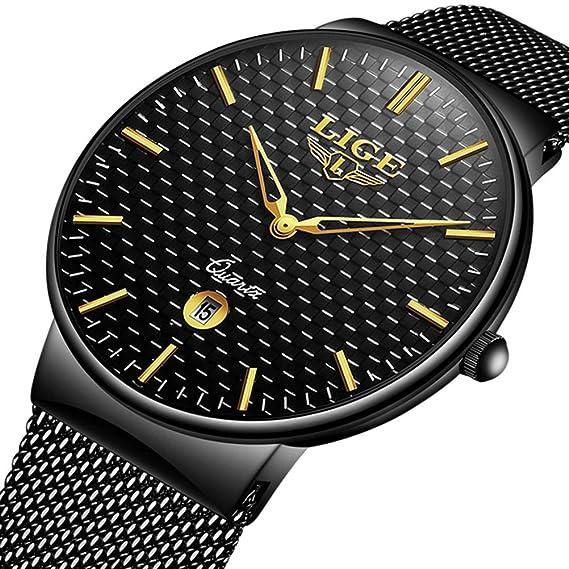Relojes para Hombre Cuarzo Minimalista Delgado Reloj de Hombres Marca de Lujo LIGE Elegante Negocios Retro Relojes Negro Malla Acero Inoxidable Impermeable ...