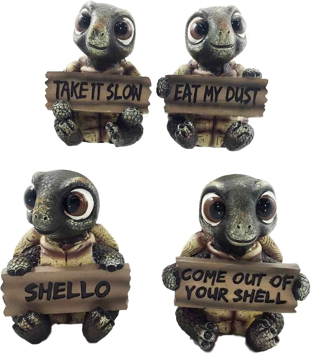 Ebros Whimsical Cute Sea Turtles Set of Four Statue Set Holding Signs With Funny Sayings Baby Tortoises Figurines
