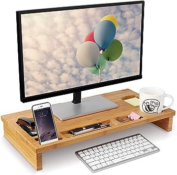 Homfa Soporte para Monitor Soportes para Pantallas de bambú Mesas ...
