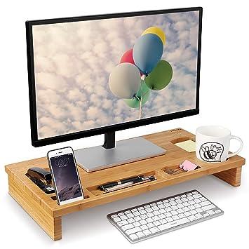 Amazonde Homfa Bambus Bildschirmständer Mit Stauraum