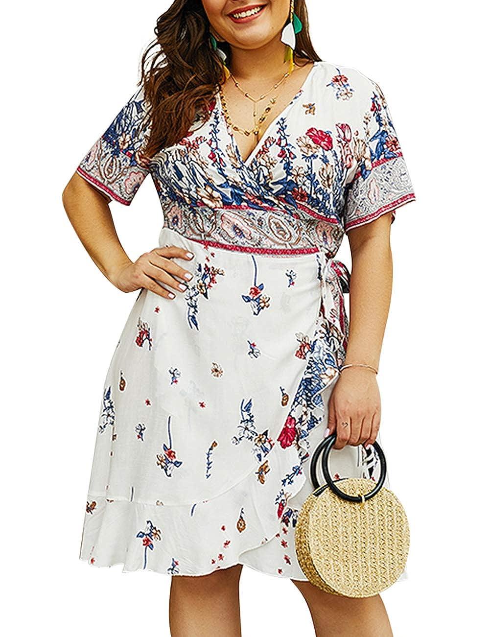 White YUMDO Women's Short Sleeve Floral Print T Shirt Vintage Blouse Top Asymmetric Hem