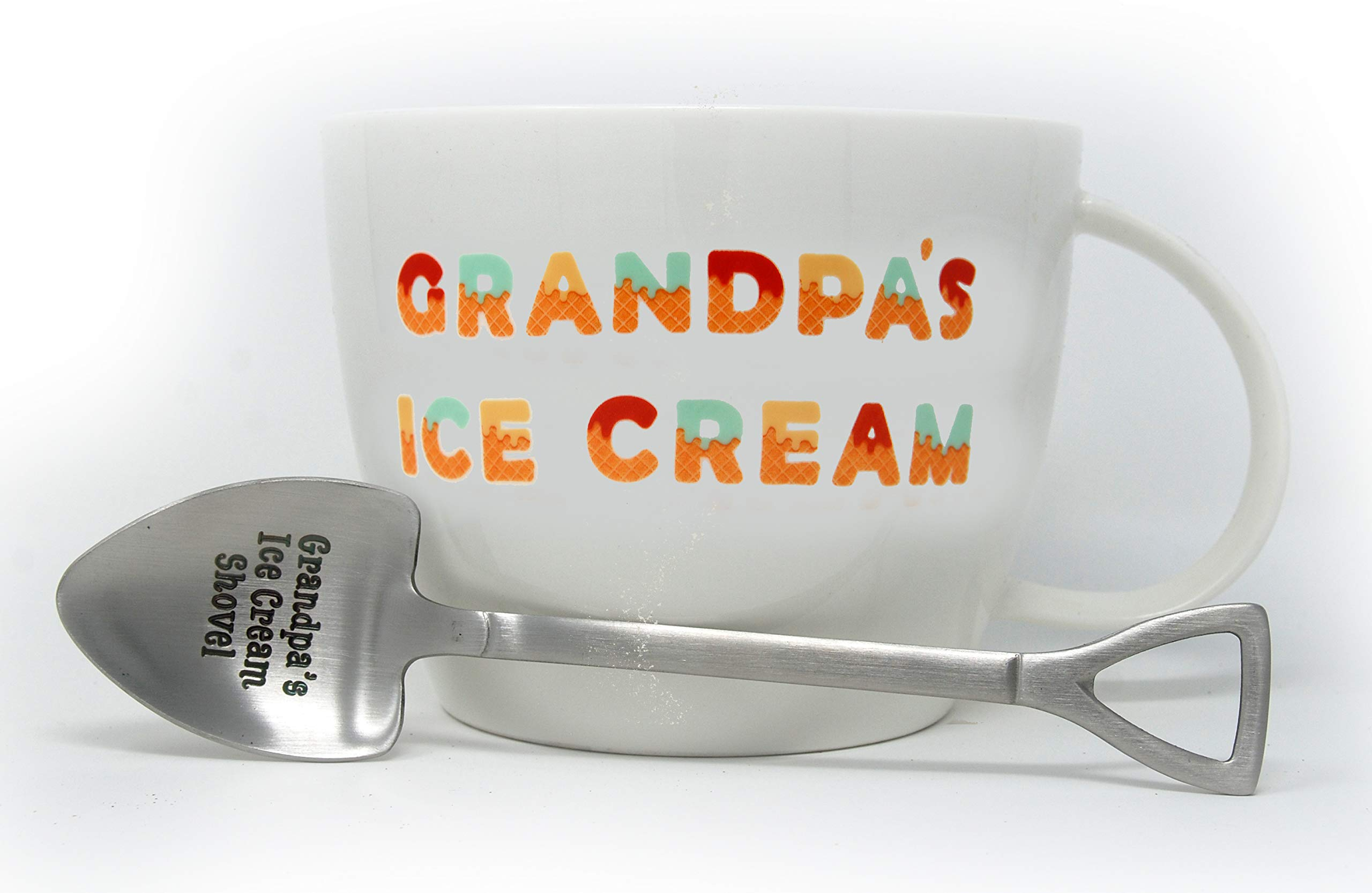 Josephine on Caffeine Gifts for Grandpa - Grandpa's Ice Cream Bowl and Engraved Spoon Grandpa's Ice Cream Shovel - Ideal or Birthday Gift by Josephine on Caffeine (Image #3)