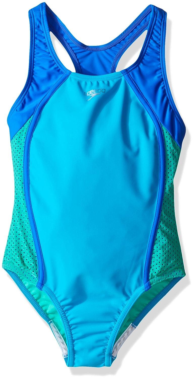Speedo Girls Mesh Splice Thick Strap One Piece Swimsuit Speedo Children's Apparel 7714001