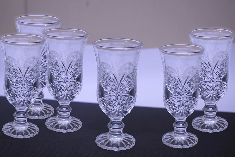 King International Crystal Glass Heavy Base Vintage Shot Glass Set of 6 | Shot Glasses| 50 ml