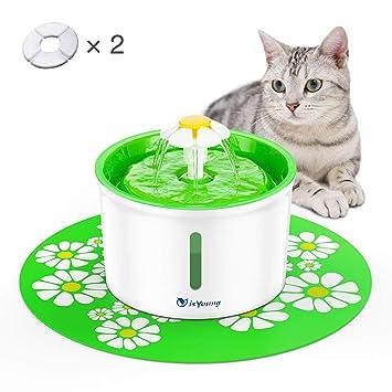 isYoung Fuente de Agua Silencioso 1.6L Gatos y Perros Bebedero Automático Fuente de Agua Sano e Higiénico con 2 Filtros de Carbón