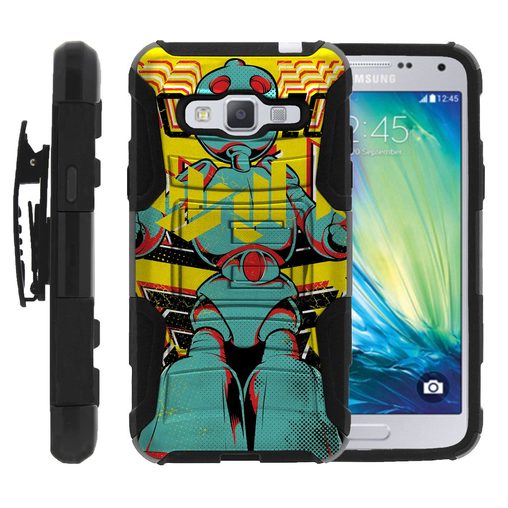 TurtleArmor | Compatible for Samsung Galaxy J3 Case (2016) | J310 [Hyper Shock] Armor Rugged Solid Hybrid Cover Kickstand Impact Silicone Clip Holster Robot Android Design - Robo Boy
