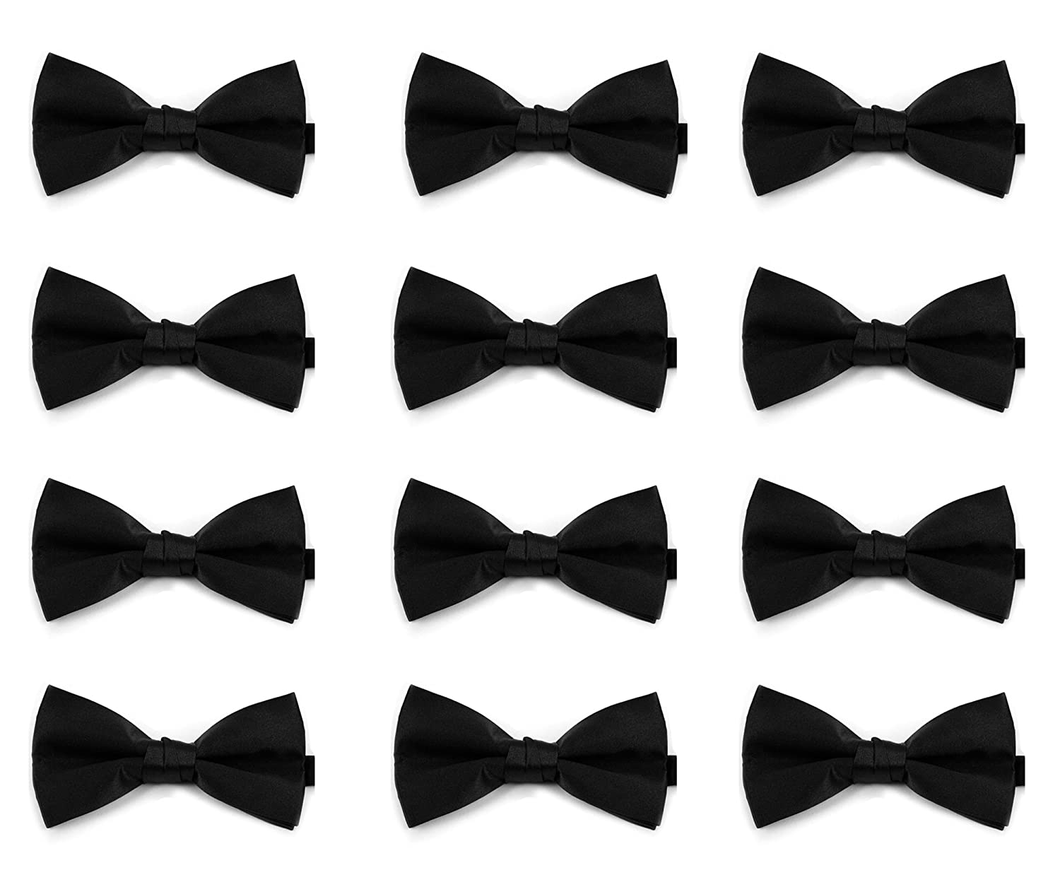 Men's Solid Color 12pc - 48pc - 96pc Banded Bow Ties Pack - Black