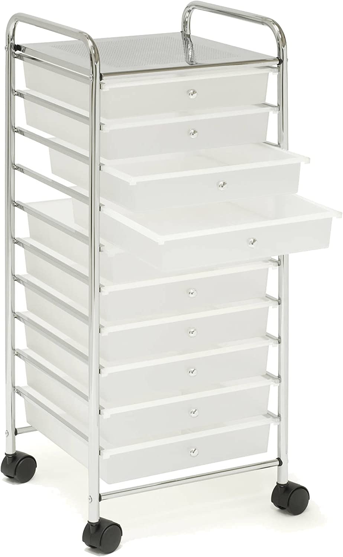 Seville Classics Large 10-Drawer Storage Organizer Utility Cart, Frosted White