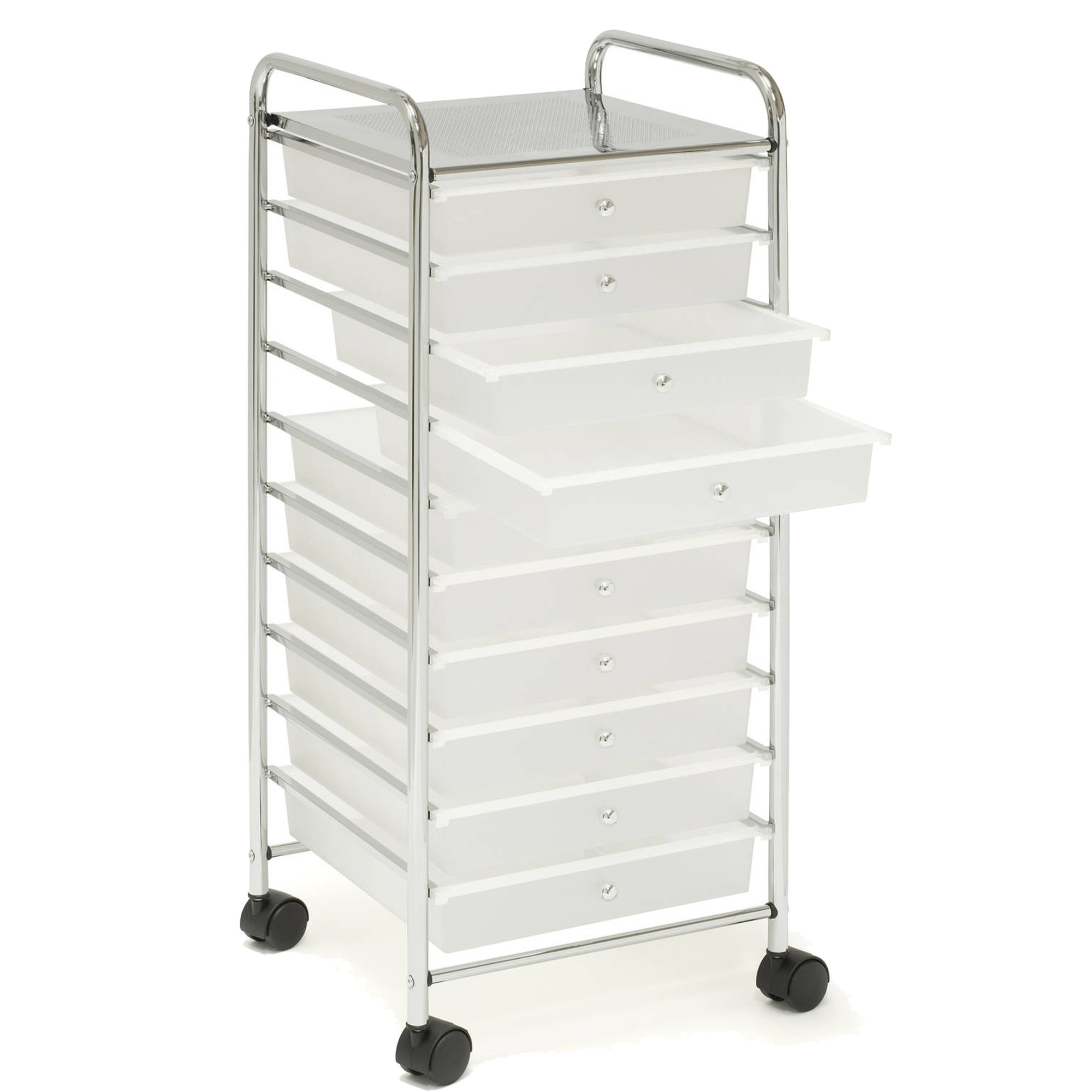 Seville Classics Large 10-Drawer Storage Organizer Utility Cart, Frosted White