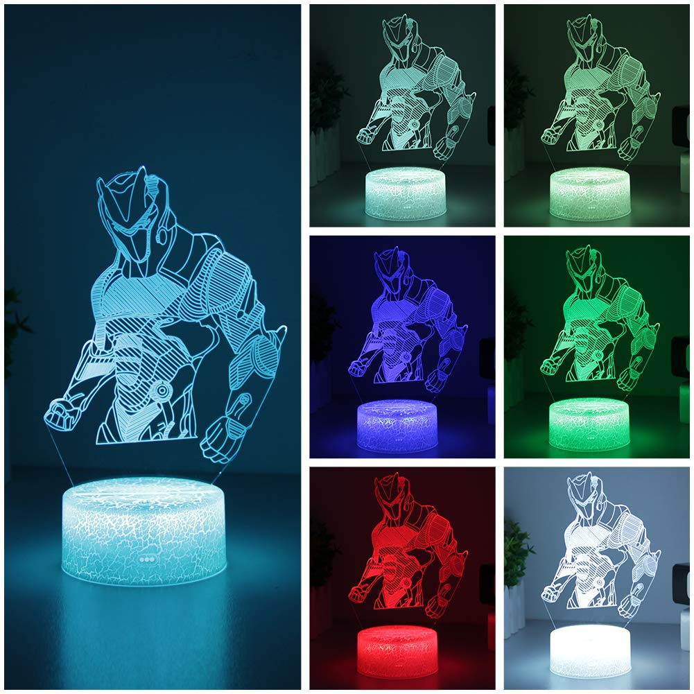 Game Series Night Light Omega Raven Scar 3D Lamp 7 Color Table Lava Mood Lamp for Child Christmas Birthday Gifts Fans (Omega Crackle Base)