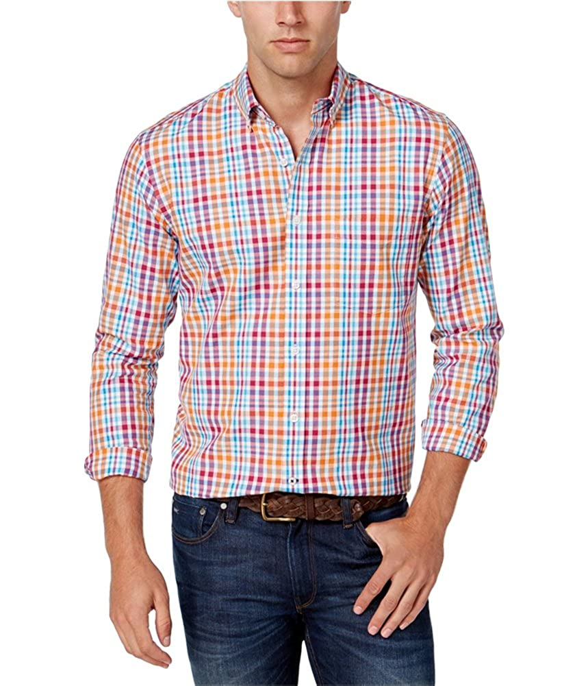 Club Room Mens Multi-Check Ls Button Up Shirt