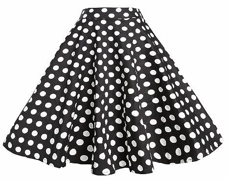 c039f0d1bc TENCON Women 1950s Black White Polka Dot High Waist Circle Swing Vintage  Skirt S