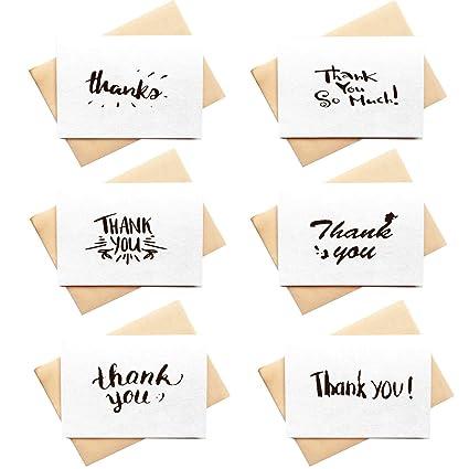 Amazon Com 4 X 6 Thank You Cards Set 36 Bulk White Paper Thank