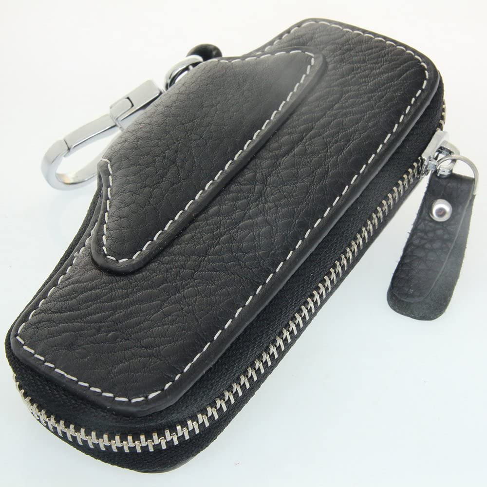 Cowhide Leather Key Case Wallet Keychain Keyring Snap Button Zip Closure