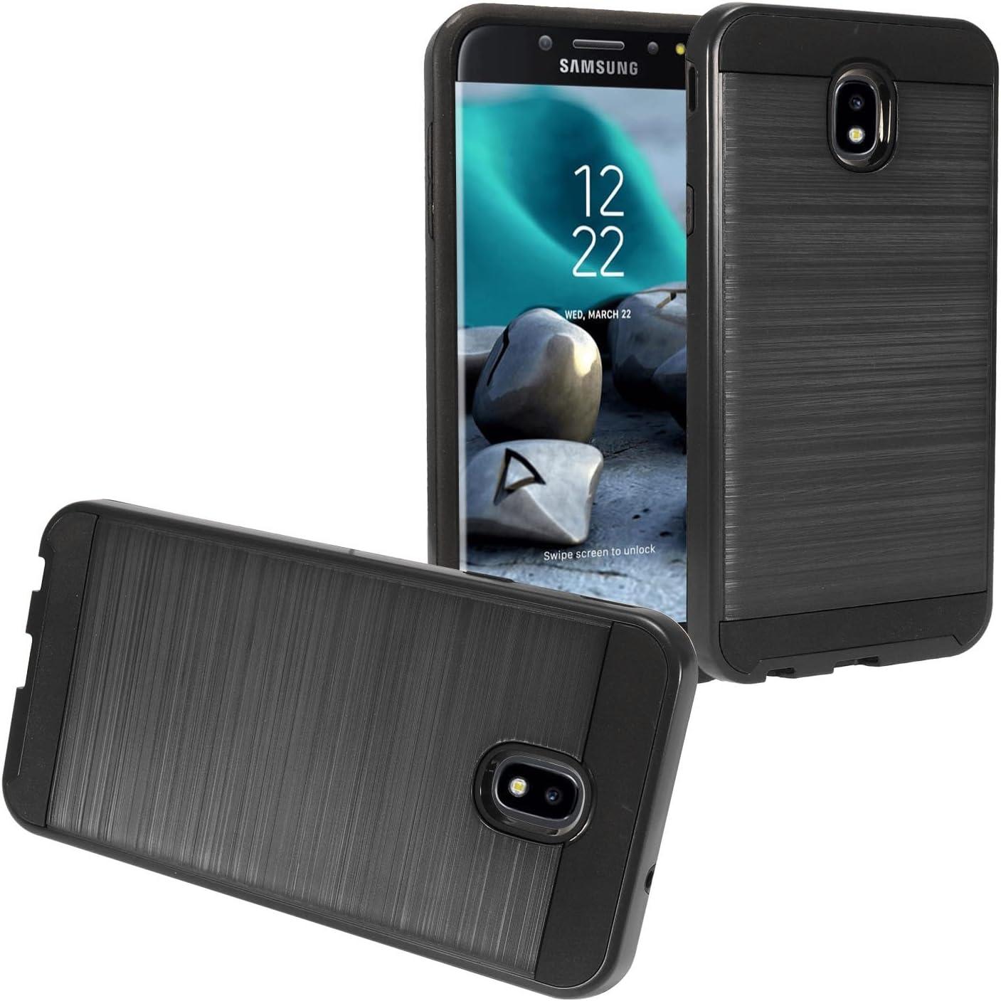 Z-GEN - Galaxy J7 2018, J7 Refine, J7 Star, J7 Crown, J7 Aura, J7 Top, J7 V J7V 2nd Gen J737 - Brushed Hybrid Phone Case for Samsung - CS3 Black