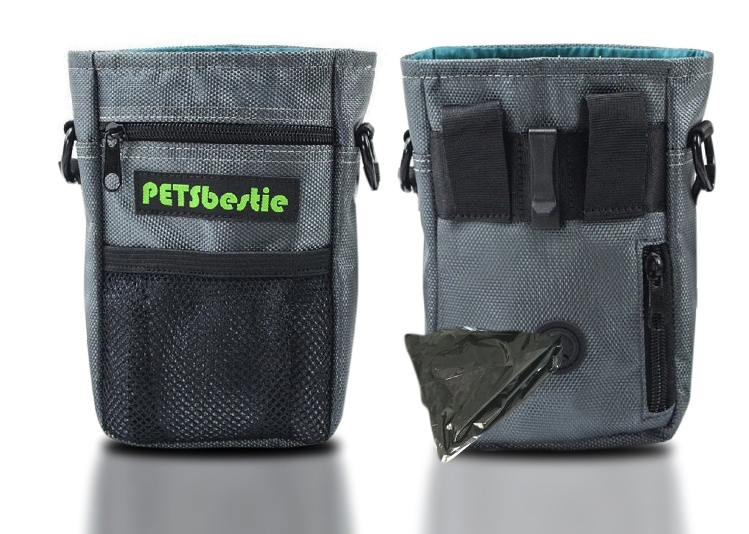 PETSbestie Waterproof Dog Treat Pouch for Training - Dog Pouch with Adjustable Waist Belt or Shoulder Strap - Waste Bags Dispenser - Carries Treats, Toys (Grey Color)