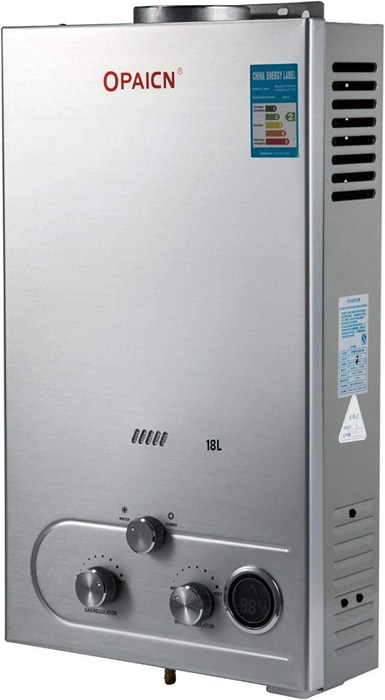 Moracle Calentador de Agua de Gas Licuado Calentador de Agua de Gas 18L LPG con Digital LCD Calentador de Agua Automático 36KW y Rápidamente