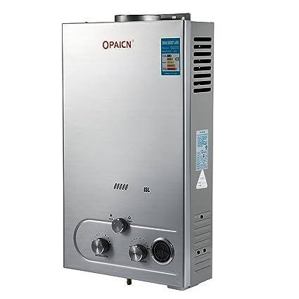 Moracle Calentador de Agua de Gas Licuado Calentador de Agua de Gas 18L LPG con Digital
