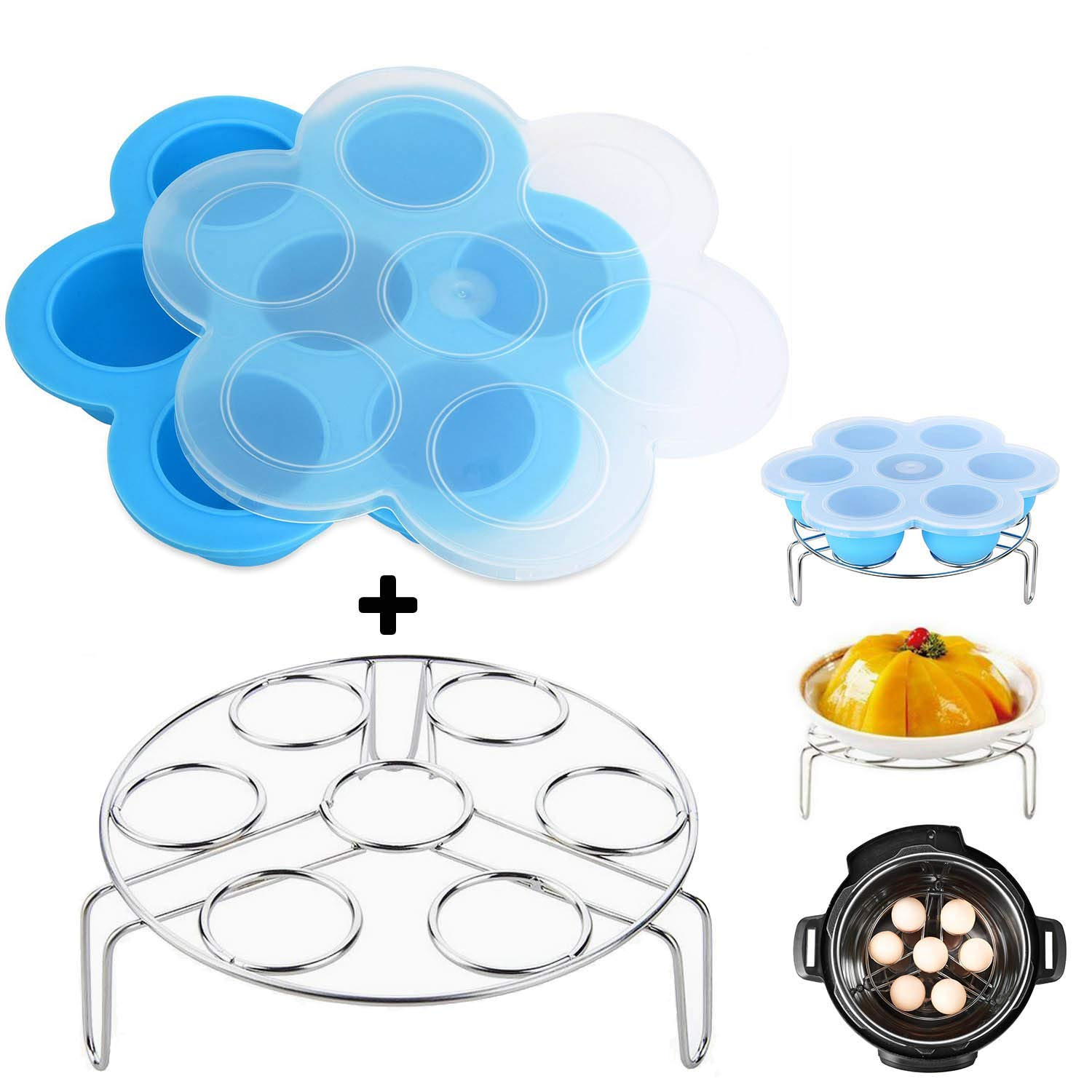 Vencer One Blue Silicone Egg Bites Molds With One Stainless Steel Egg Steamer Rack For Instant Pot Accessories/Pressure Cooker Food Steamer and Reusable Storage Container,2 Pack,VSO-008