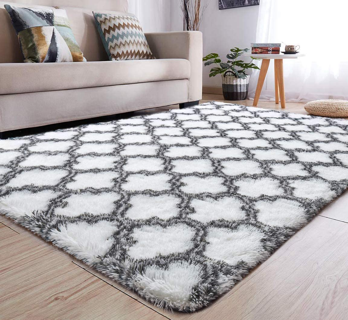 YJ.GWL Soft Indoor Large Modern Area Rugs Shaggy Patterned Fluffy Carpets Suitable for Living Room and Bedroom Nursery Rugs Home Decor Rugs for Christmas and Thanksgiving 4'x6'White Trellis