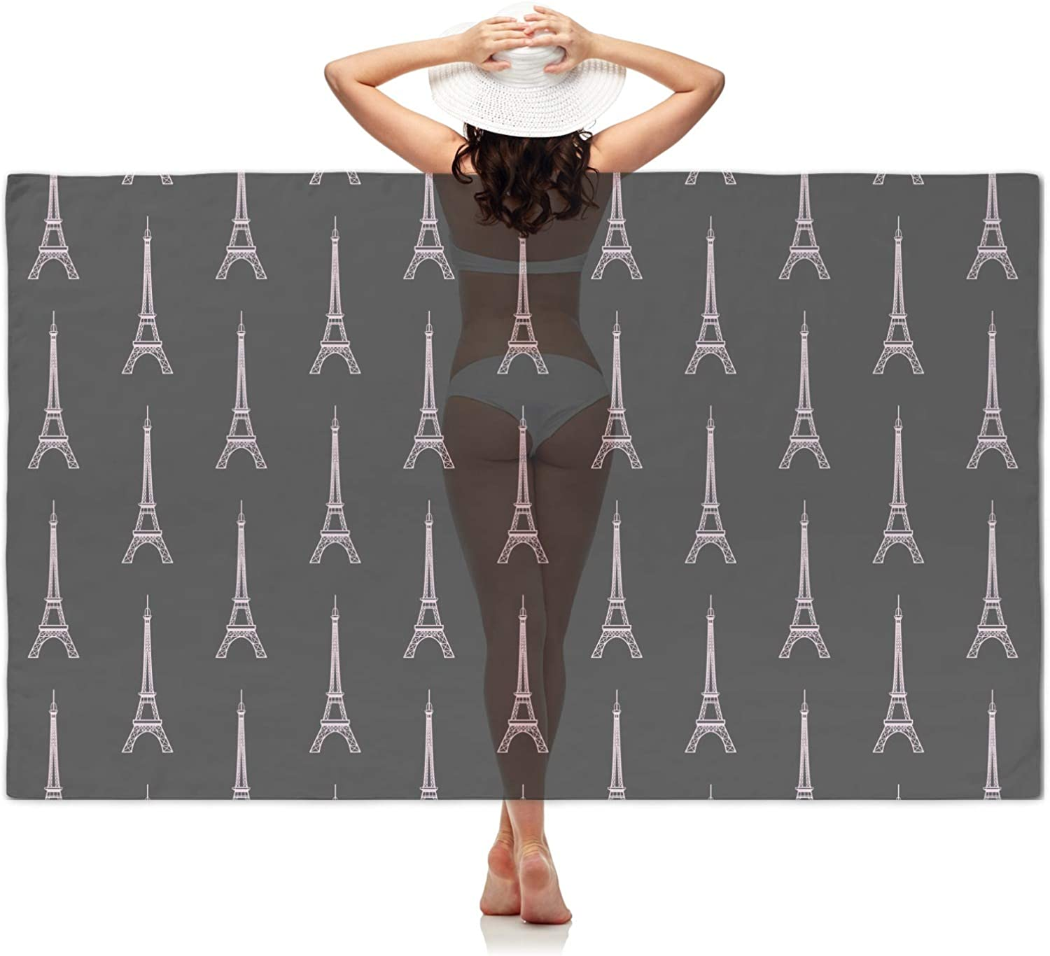 YouCustomizeIt Black Eiffel Tower Sheer Sarong Personalized