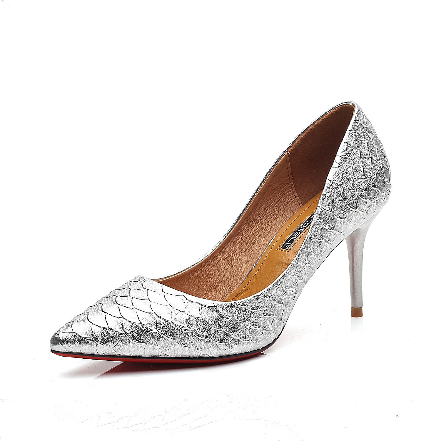 Fine with high heels pointed shoes with high heels fine cracks in light of women's shoes, Silver (8CM),34