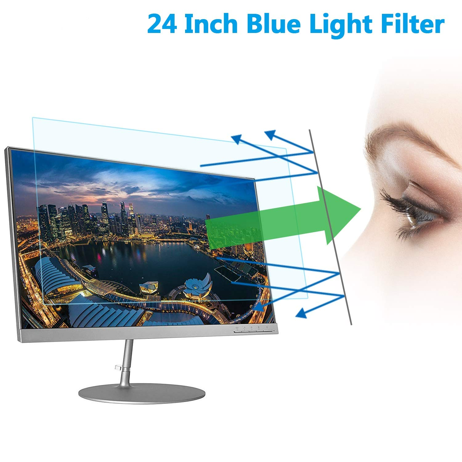 24'' Computer Anti Blue Light Screen Protector, Eye Protection Reduce Eye Fatigue and Eye Strain for 24 inches Widescreen Desktop Monitor by LILIONGTH