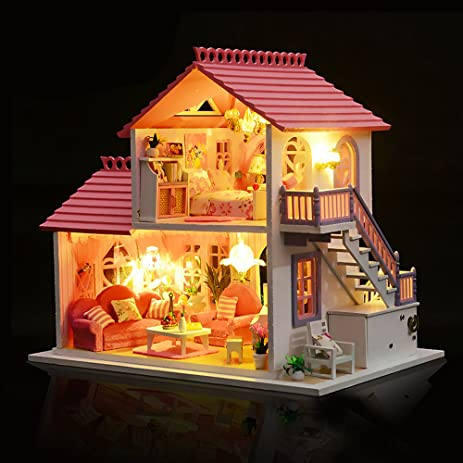 WYD Romantic Memories Pink Luxury Doll House DIY Model Furniture Kits LED  Lights Wooden Doll House