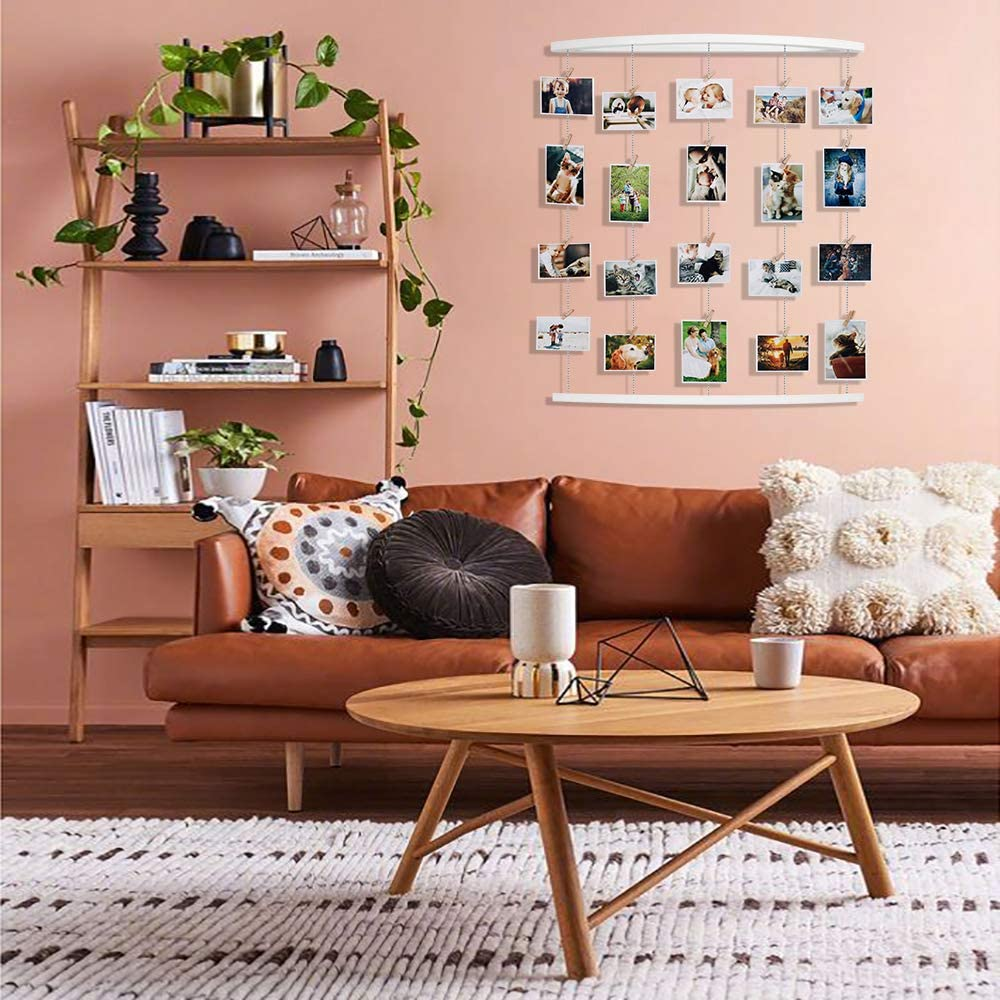 with 30 Wood Clips Hanging Photo Display Black Wall Hanging Pictures Organizer String Home Decor