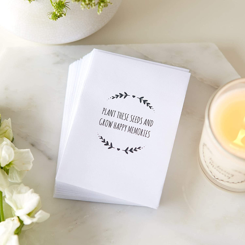 Paquete vacío de 25 semillas, mensaje de «planta estas semillas y haz que crezcan felices recuerdos», para funerales, sobres de Angel & Dove