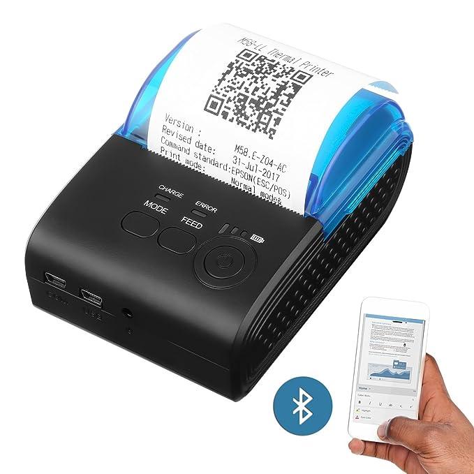 PowerLead Mini Impresora Térmica Directa Inalámbrica Portátil de Alta Velocidad de 58mm, Compatible con Android y Sistemas iOS y Windows y Linux y los ...