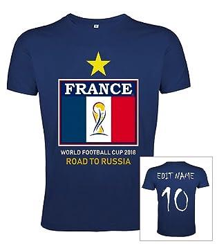 JL Copa Mundial de Fútbol 2018 Camiseta Francia Poliéster Bandera - Nombre y Número Personalizable: Amazon.es: Deportes y aire libre
