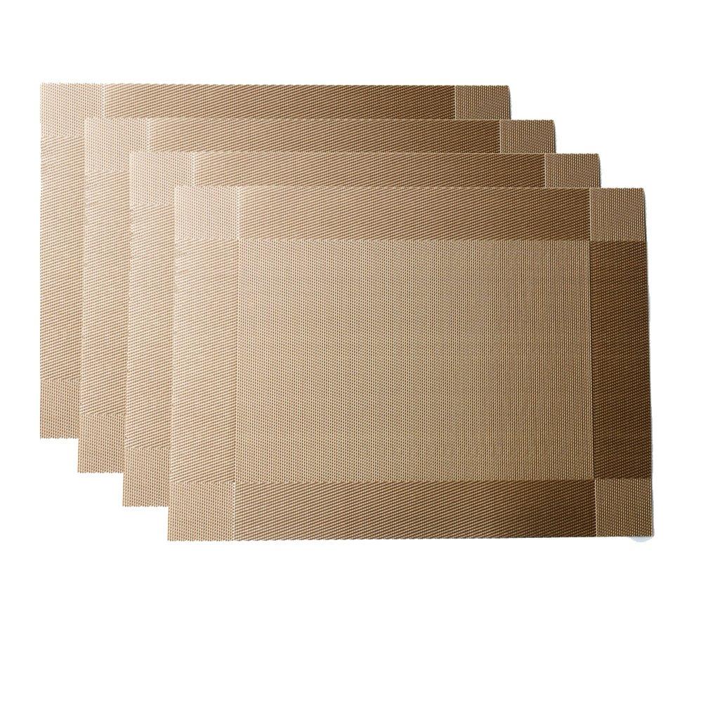bluexury Placemats Set of 4 – 耐熱Placeマット洗濯可能ノンスリップPVCテーブルマットforホームダイニングルーム One Size ゴールド Bluexury_1502435834_924029  ゴールド B074QNSLQR