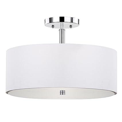 Safavieh lighting collection clara ceiling chrome 11 25 inch semi flush drum light