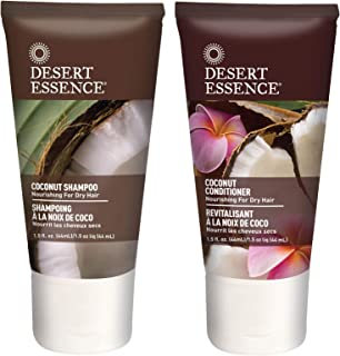 product image for Desert Essence Coconut Shampoo & Conditioner Travel Size Bundle - 1.5 Fl Ounce - Nourishing For Dry Hair - Moisturizing - Softening - Hydrating - Anti-Frizz - Shea Butter