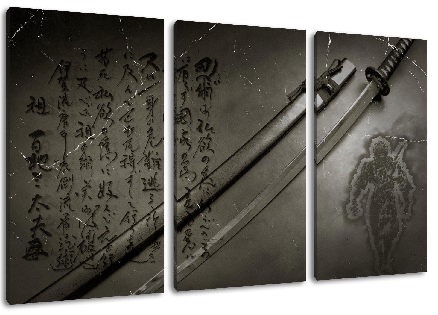 Katana Format  Dreiteiler Gesamt 120x80, Bild auf Leinwand komplett bespannt, riesige XXL Bilder komplett Leinwand und fertig gerahmt mit Keilrahmen, Kunstdruck auf Wand Bild mit Rahmen, günstiger als Gemälde oder Bild, kein Poster oder Plakat 0f31cb